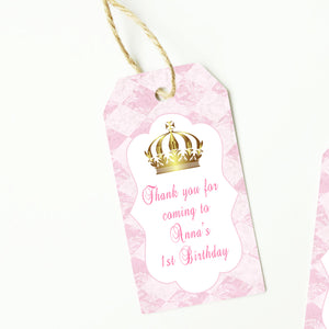 Princess pink gold thank you tags (set of 48)