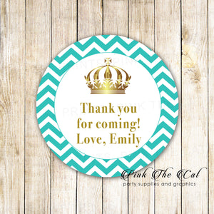 Princess favor label teal gold printable baby shower favors