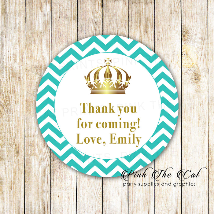 Princess favor label teal gold printable