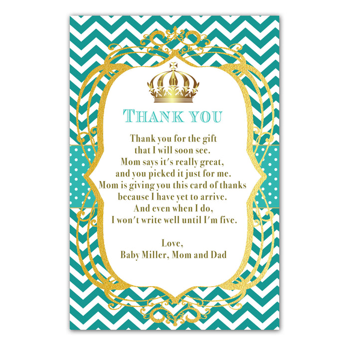 30 thank you cards prince princess teal photo paper