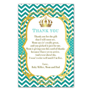 30 thank you cards prince princess teal personalized with envelopes