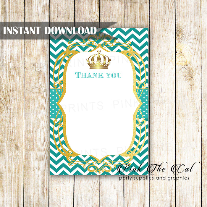 Princess Blank Thank You Card Note Teal Gold Printable