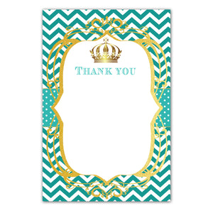 Prince princess thank you card teal gold + envelopes
