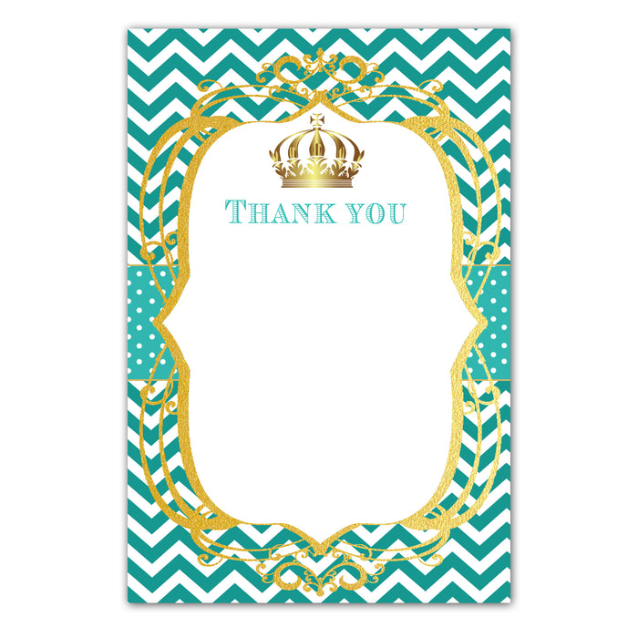 30 Prince princess thank you card teal gold + envelopes