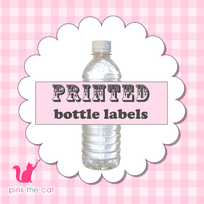 Printed Bottle Labels for Birthday Baby Bridal Shower Wedding
