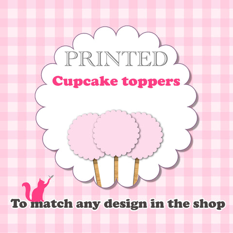 Printed cupcake toppers for birthday baby bridal shower wedding and more