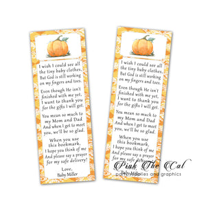 Pumpkin fall bookmarks baby shower favors personalized printable