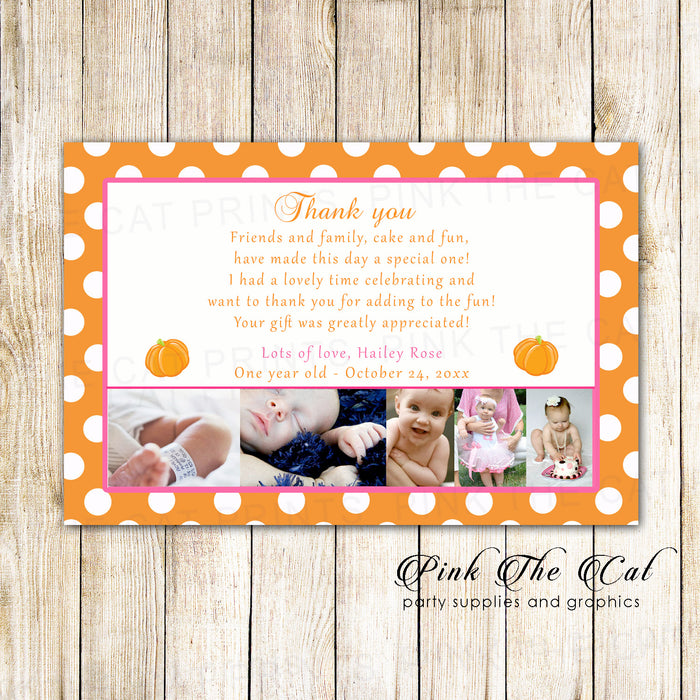 30 Thank you notes girl birthday photo cards fall pumpkin