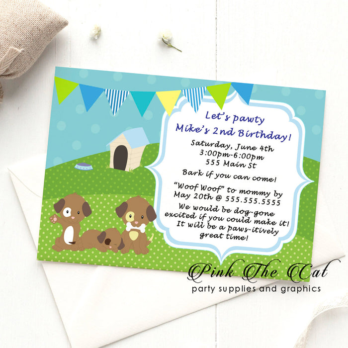 Puppy invitations boy birthday (set of 30)