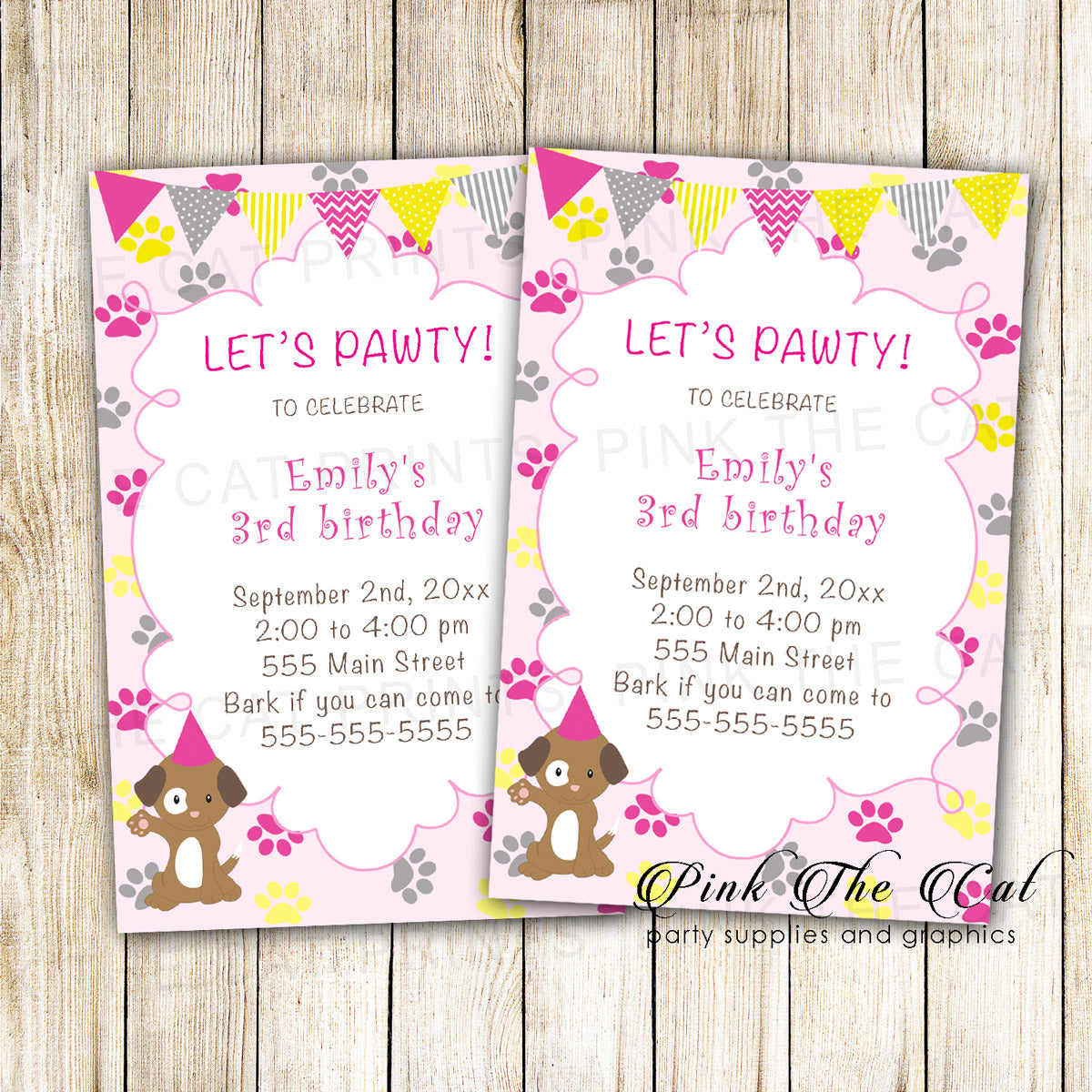 30 Printed Cards Puppy Pawty Girl Birthday Invitation Pink Yellow ...