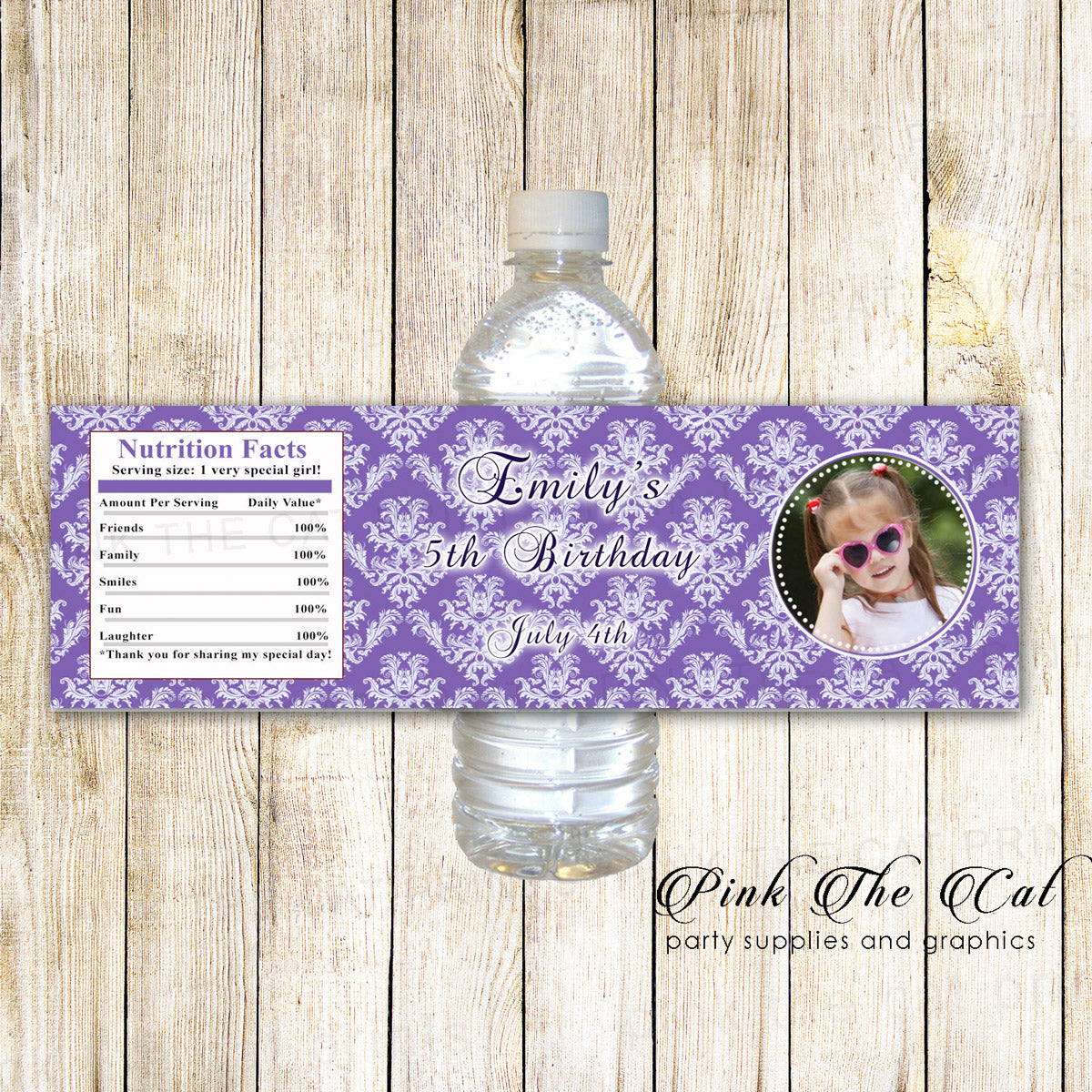 30 Bottle Labels Photo Purple Damask Birthday Party Pink The Cat