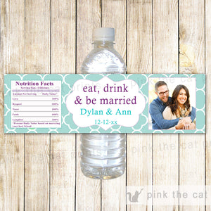 Bottle Labels Wedding Bridal Shower Turquoise Lavender