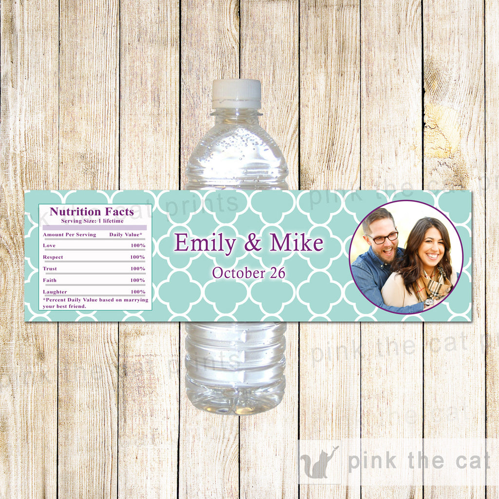 Turquoise Lavender Bottle Labels With Photo