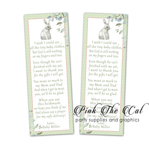 Rabbit Bunny green bookmarks baby shower favors printable