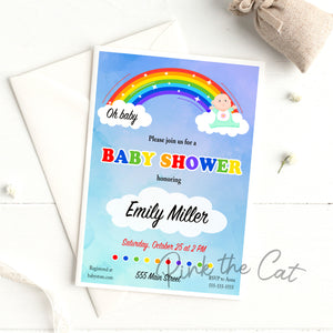 Oh baby ranibow baby shower invitation gender neutral
