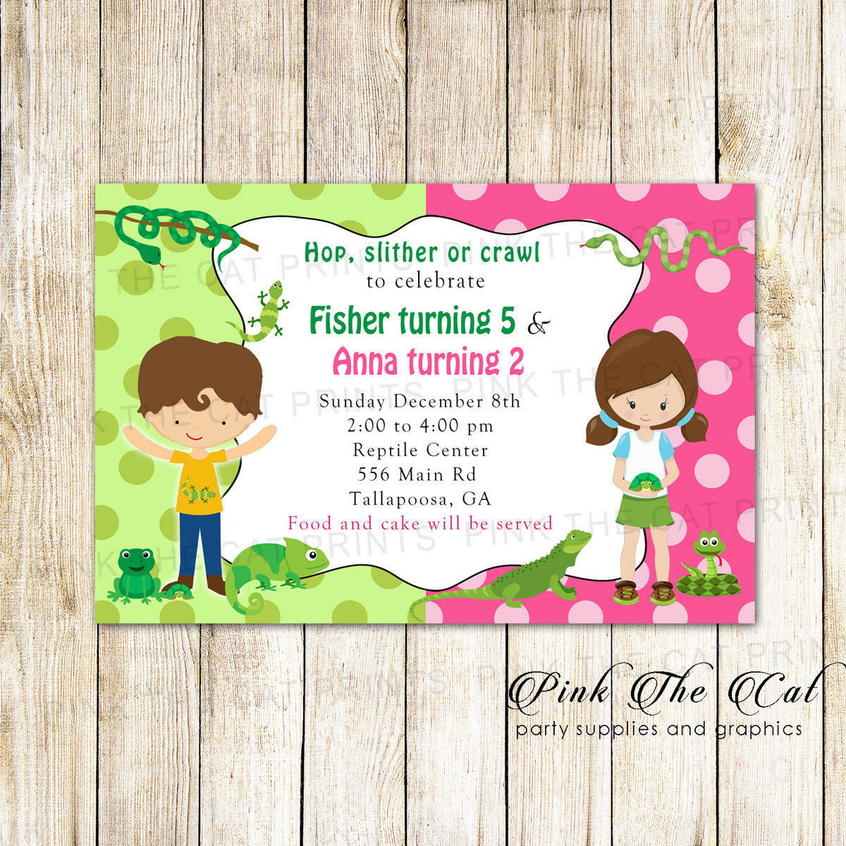 Reptile Snakes Kids Birthday Invitation Printable Pink The Cat