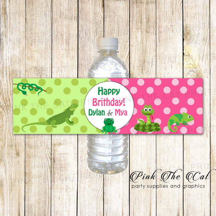 30 Bottle Labels Reptile Snake Kids Birthdy Party Girl Boy