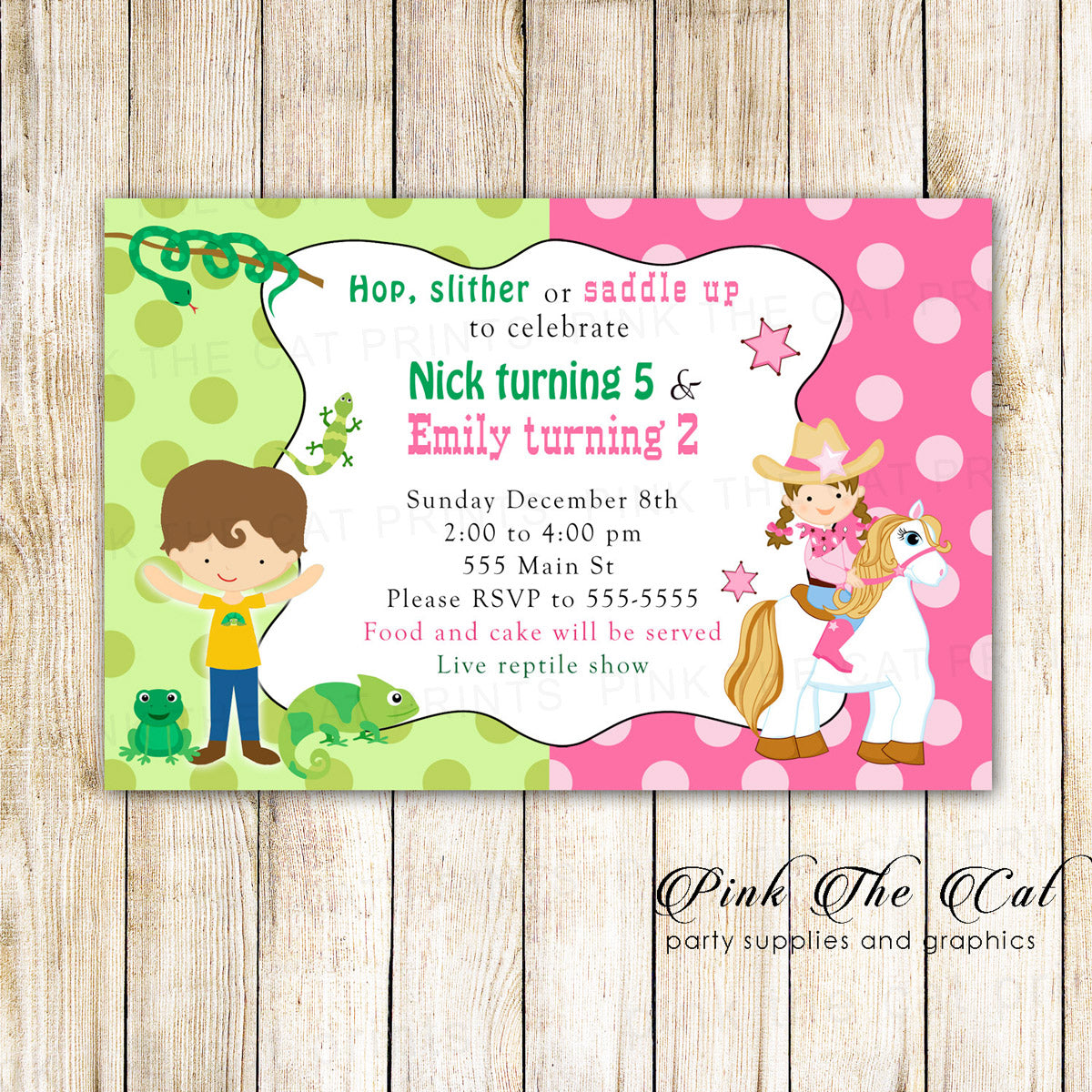 Reptile Cowgirl Kids Birthday Invitation Pink The Cat