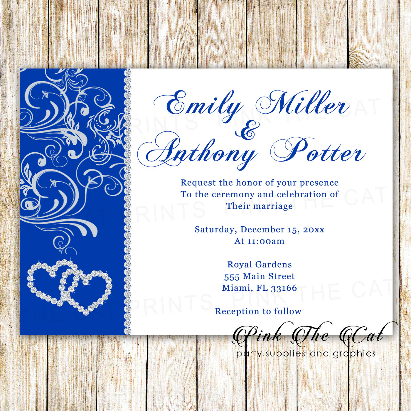 100 Rhinestone Diamond Wedding Invitation Cards Royal Blue Silver