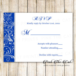 100 RSVP cards rhinestone diamonds royal blue hearts