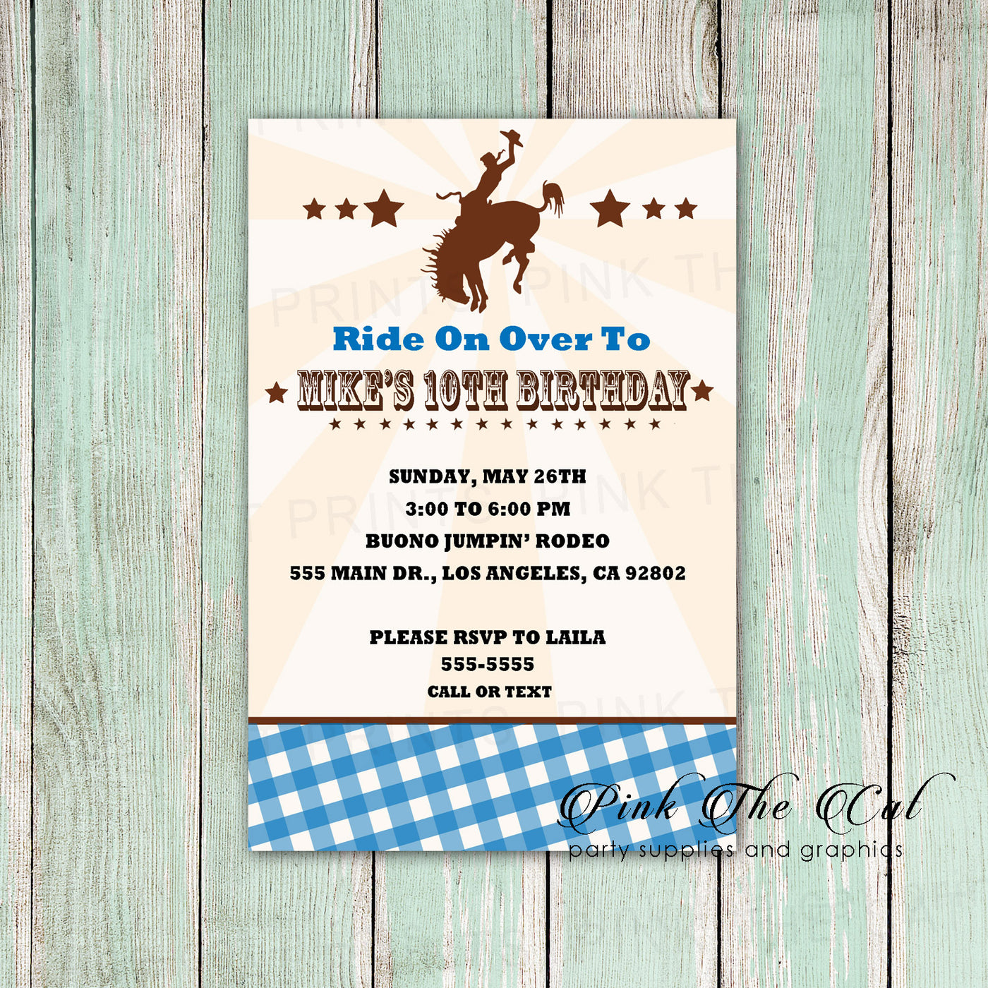 Rodeo Cowboy Invitation Kids Or Adult Birthday Party Blue Printable Pink The Cat