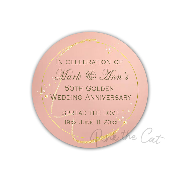 Rose gold wedding anniversary favor label