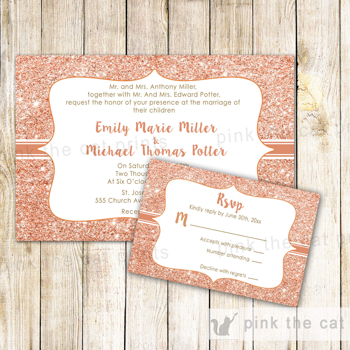 Rose Gold Glitter Wedding Invitations Rsvp Cards Pink The Cat
