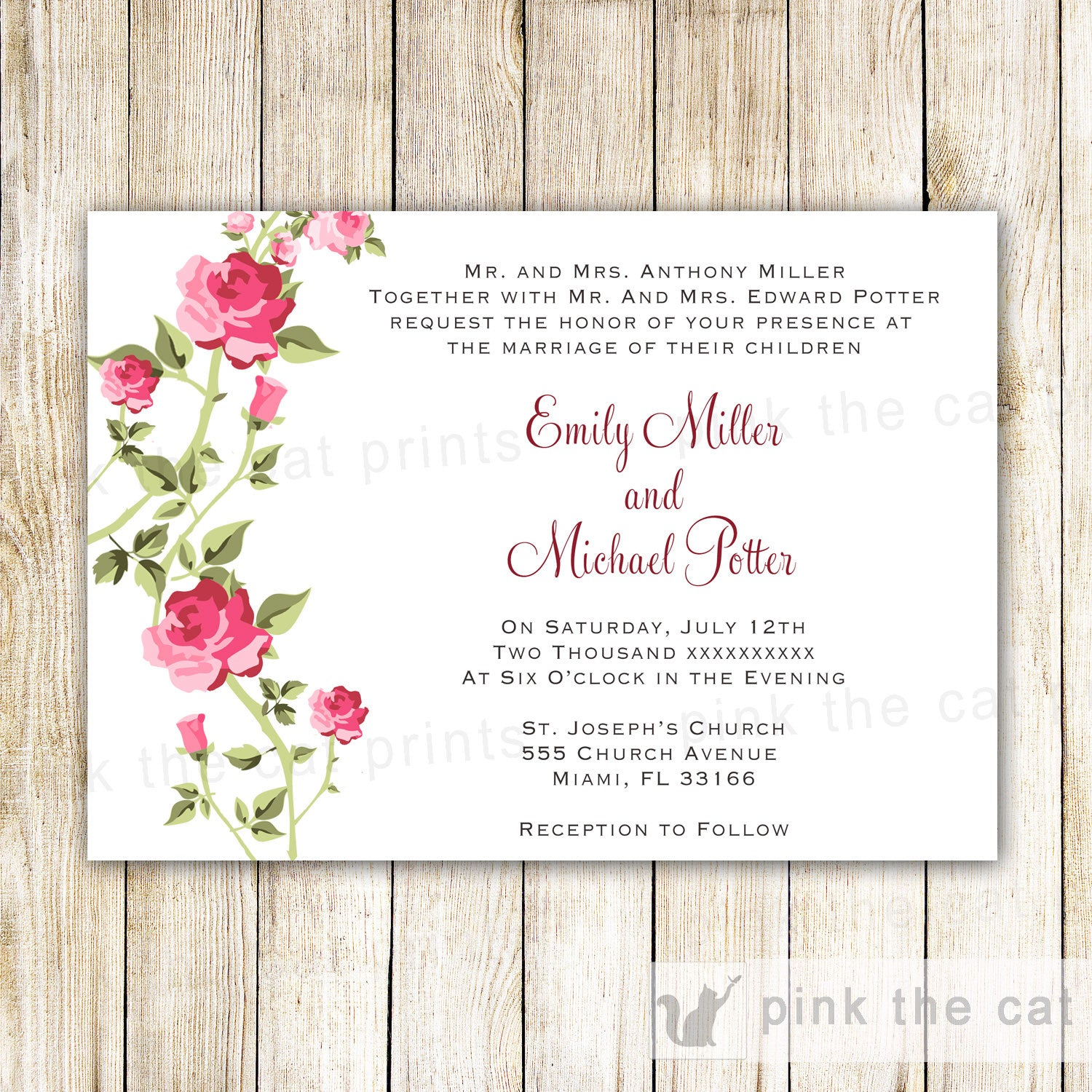 Wedding Invitation & RSVP Card Roses Pink Mint Green – Pink The Cat
