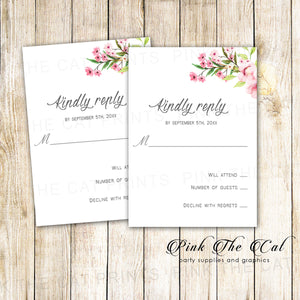 100 RSVP cards cherry blossom pink wedding bridal shower