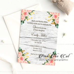 Rustic floral quinceañera invitation blush pink gold printable