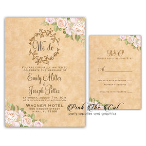 100 Rustic Pink Floral Roses Invitations & RSVP Cards With Envelopes