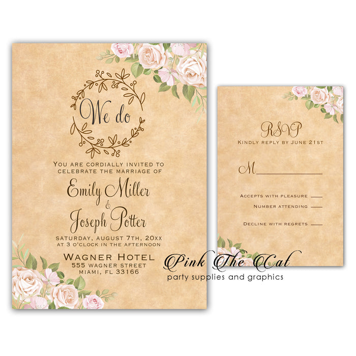 Rustic paper floral wedding invitations