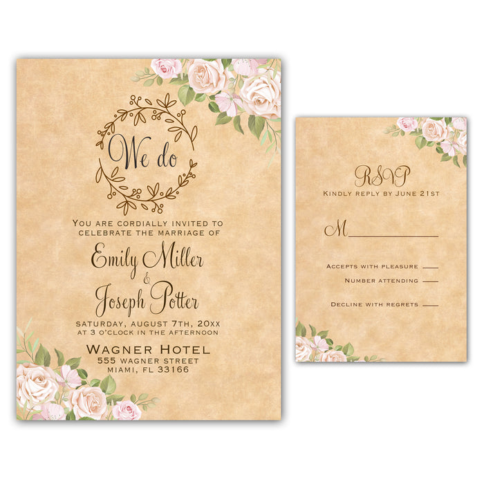 Rustic Pink Floral Invitations & RSVP Cards Printable