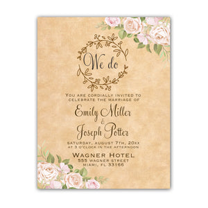100 wedding invitations rustic floral roses personalized