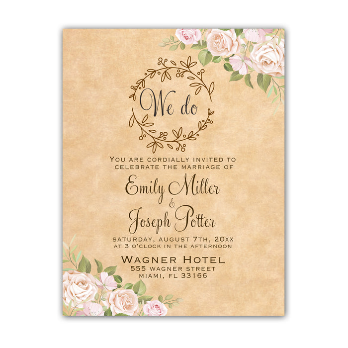 100 wedding invitations rustic floral