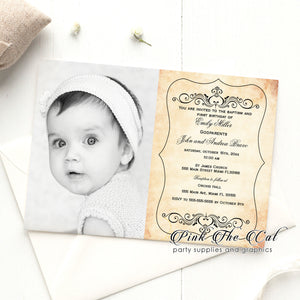 Rustic birthday invitation w/ photo printable