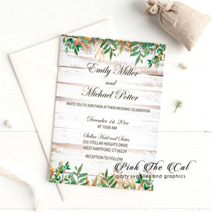 Wedding invitations rustic wood background greenery printable