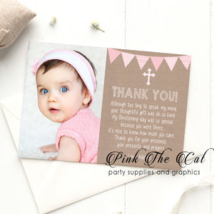 Rustic baptism christening thank you card pink printable