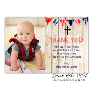 Rustic thank you cards blue red (set of 30)