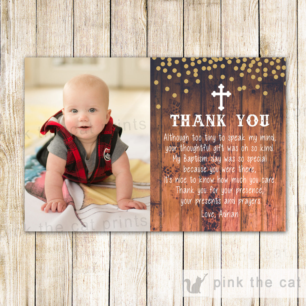 Baptism Christening Thank You Note Photo Card Rustic Confetti