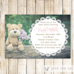 Bear Invitations Baby Shower Birthday Doily Lace