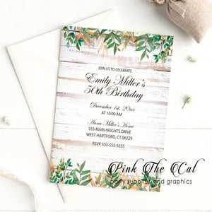 Rustic invitations white wood adult birthday party printable