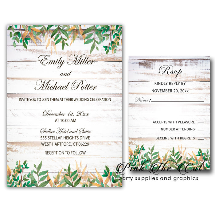 Rustic greenery wedding invitations (set of 100)