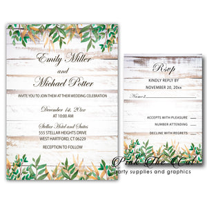 Rustic Vintage Invitations & RSVP Cards Wood Printable