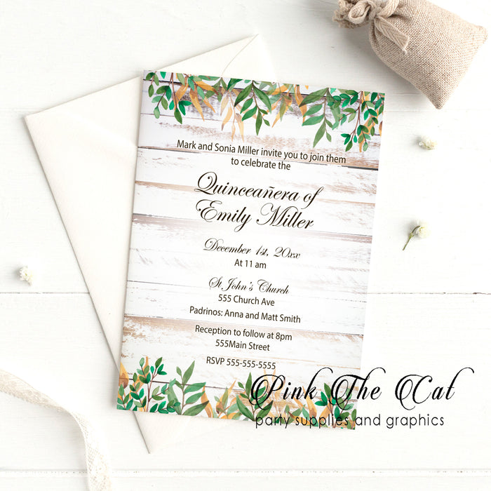 Rustic greenery quinceañera invitation printable