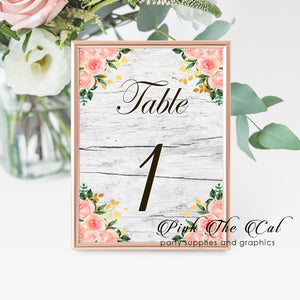 12 Table number cards rustic floral