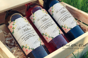 Wine Bottle Labels Floral Rustic Wedding Printable