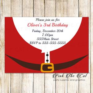 30 Christmas kids birthday party invitation santa claus