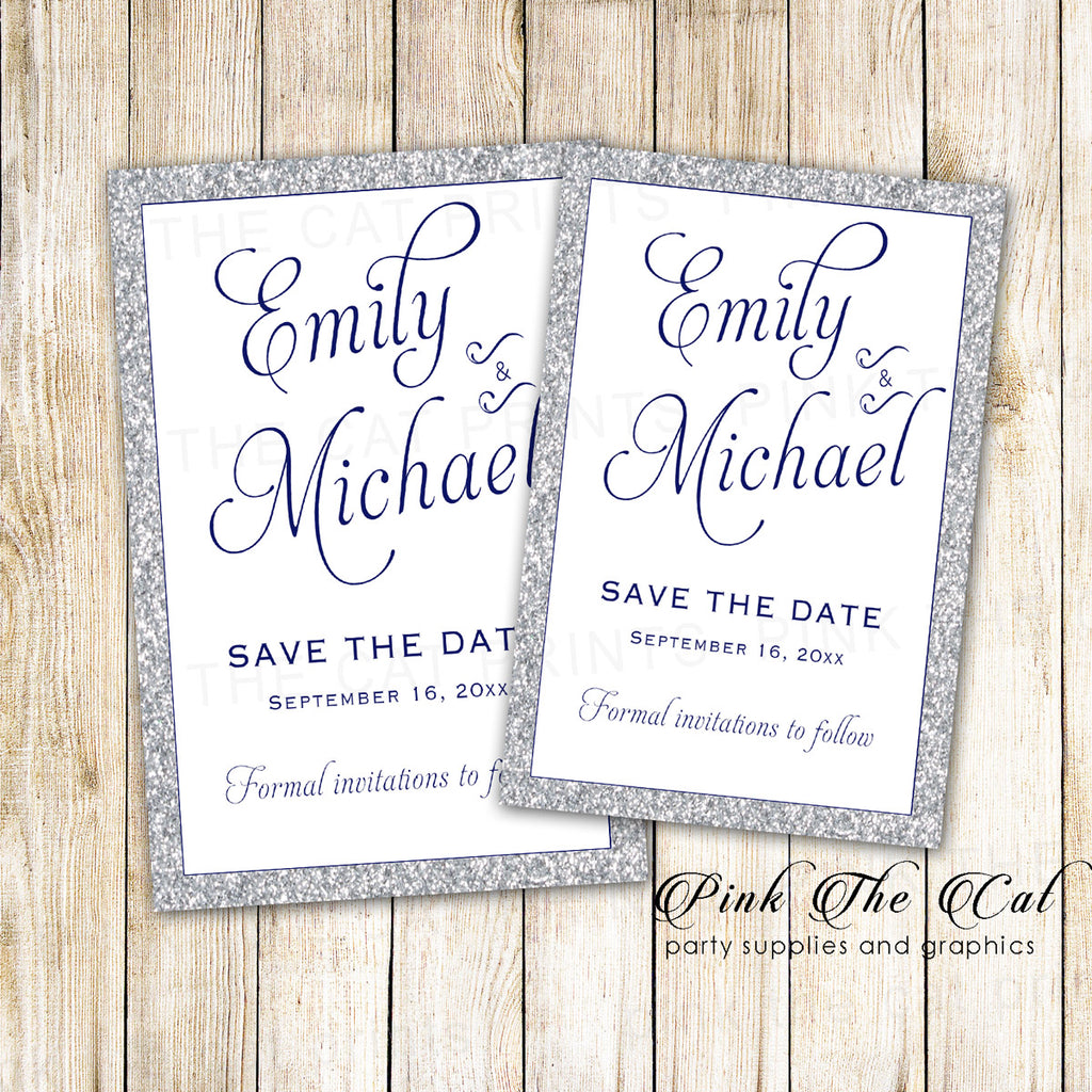 30 Cards Silver Glitter Navy Blue Save The Date Wedding
