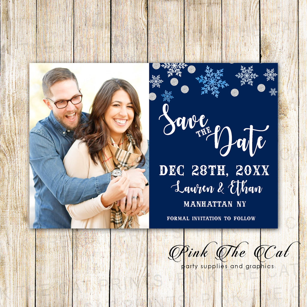 30 Cards Winter Save The Date Navy Blue Silver With Photo